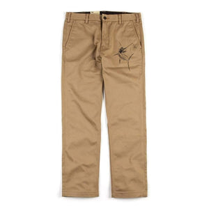 khaki womans cargo pants sailfish on left thigh logo on back right pocket
