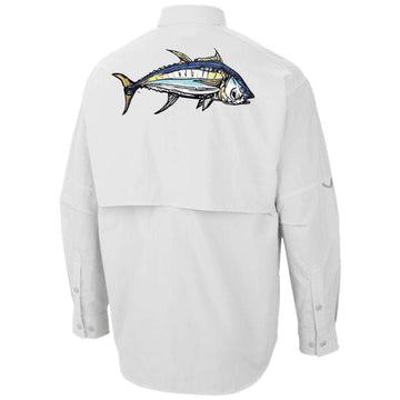 White Long Sleeve PFG Shirt-an original yellowfin embroidery on the back designed by one of our in house artists-Colombia style shirt-the Home Run logo on the front just above the heart.