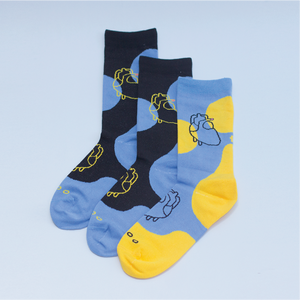 { The kawan project } Three legged pair : Black & Light blue | 2+1 socks