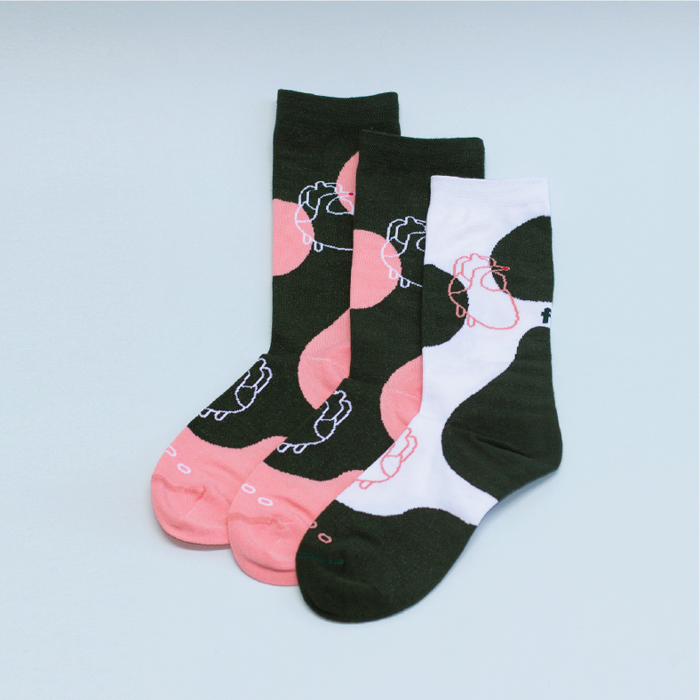 { The kawan project } Three legged pair : Bistro Green & Salmon pink | 2+1 socks