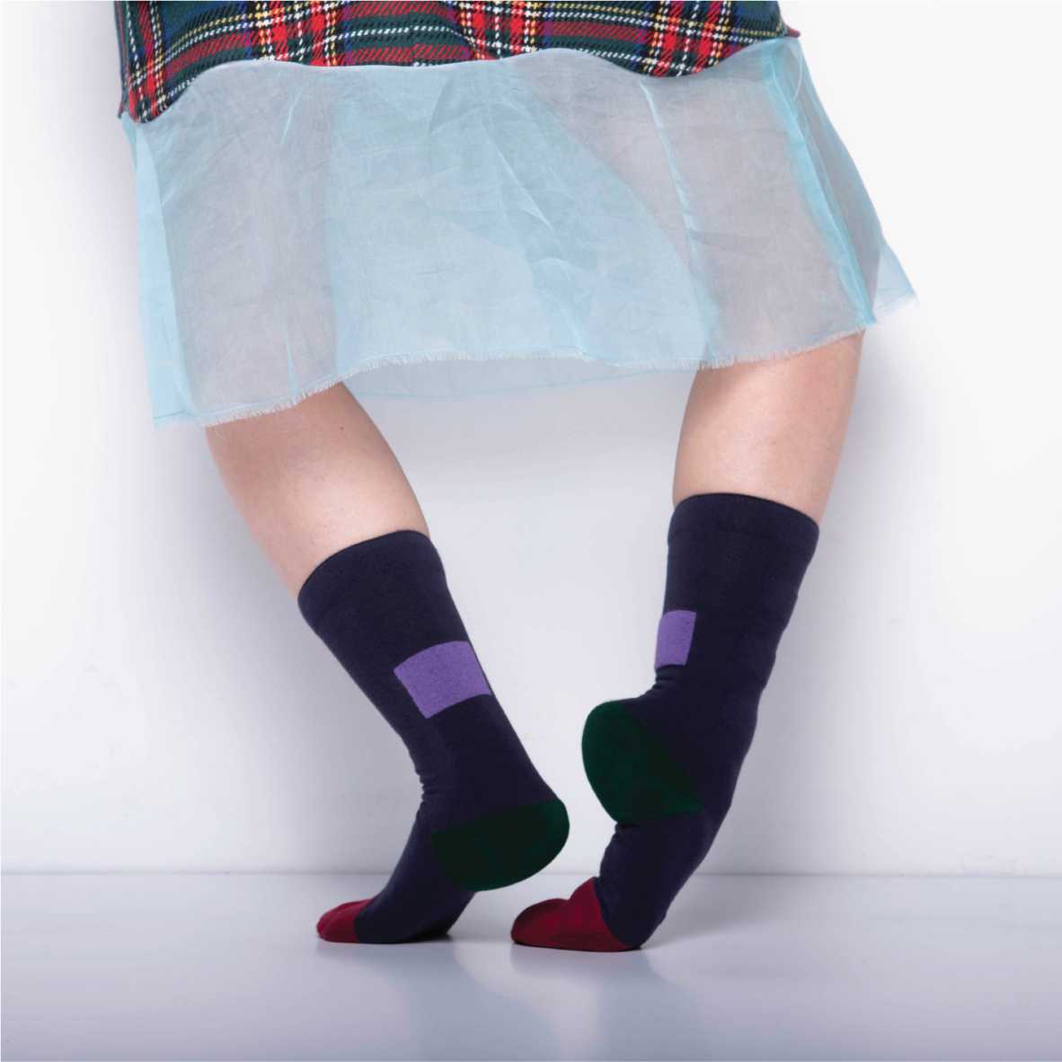 MY INNER BEAUTY: MINDA | Biking Red & Dark Blue | Reversible Patterned Socks