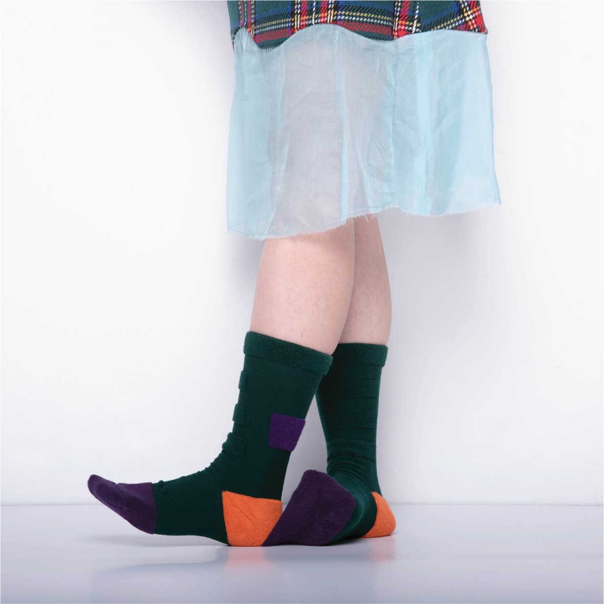 MY INNER BEAUTY: MINDA | Fern Green & Purple | Reversible Patterned Socks