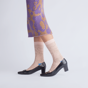 { The kawan project } Luna Island : Beige & Marine Socks