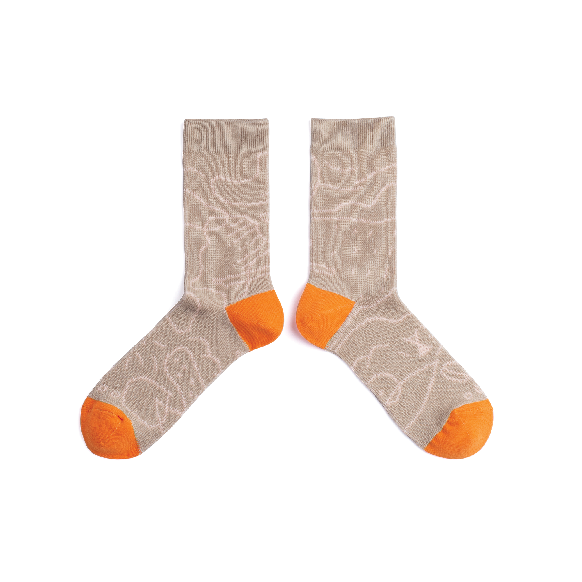 { The kawan project } Luna Island : Khaki & Orange Socks