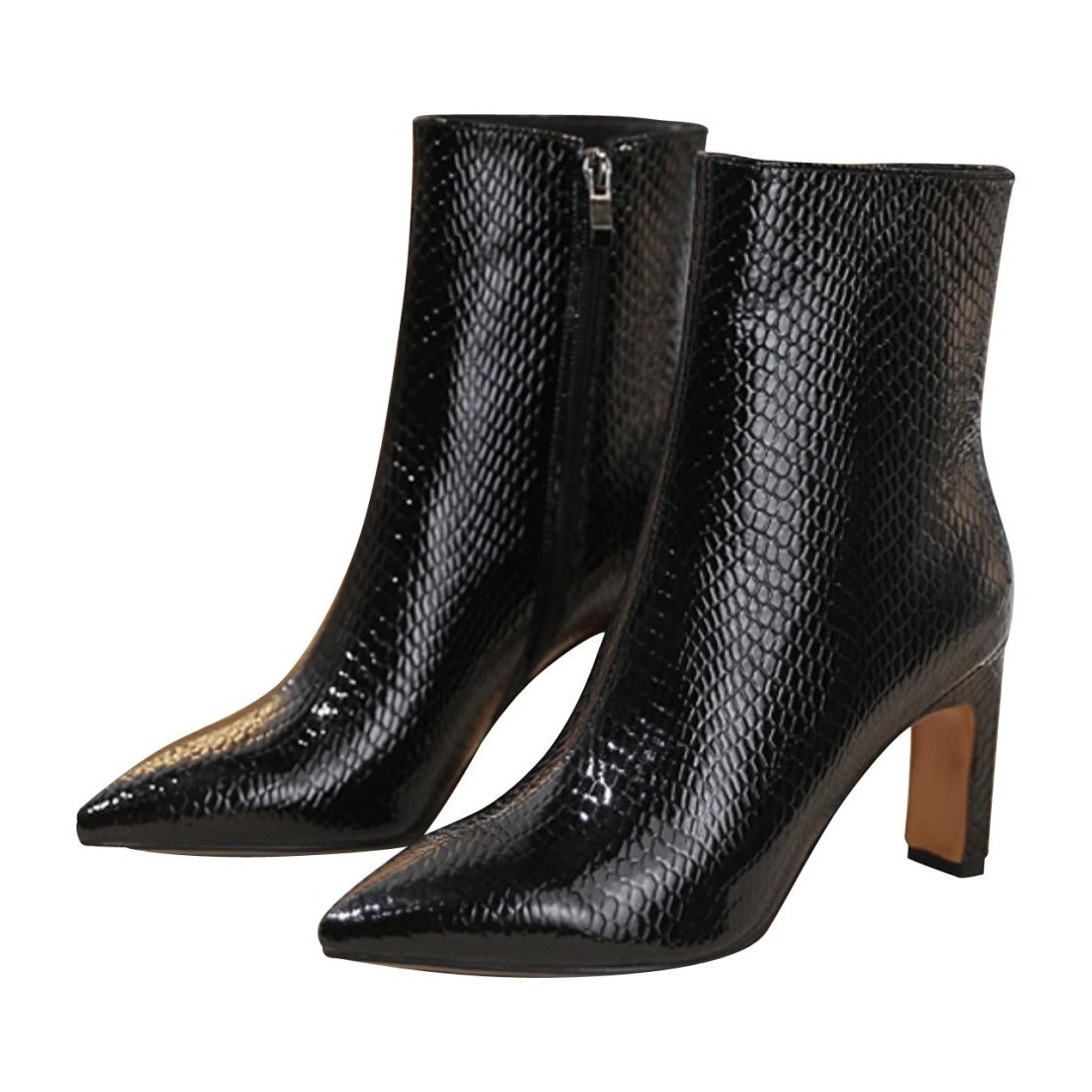 Lizard Print Leather Ankle Boots