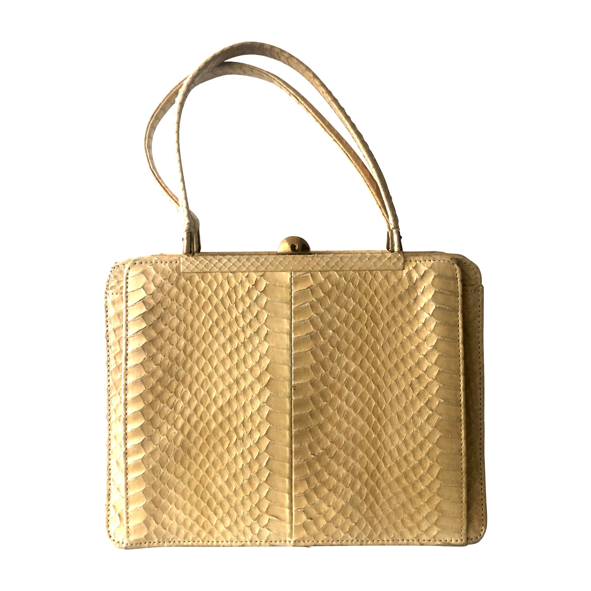 Beige Vintage Python Leather Handbag