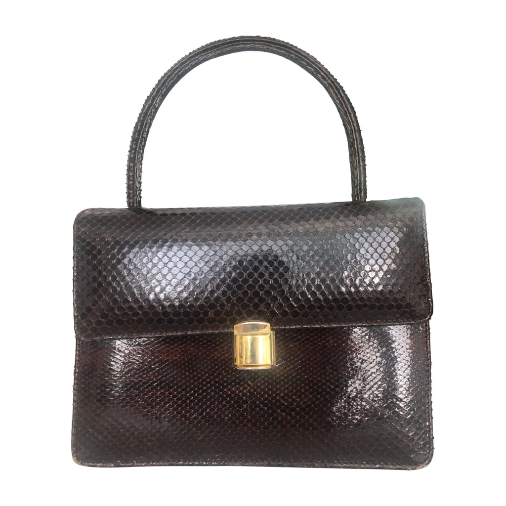 Brown Vintage Snake Leather Handbag