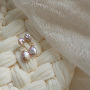 Classic Purple Pearl Earrings