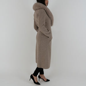 Wool Coat With Fur Collar