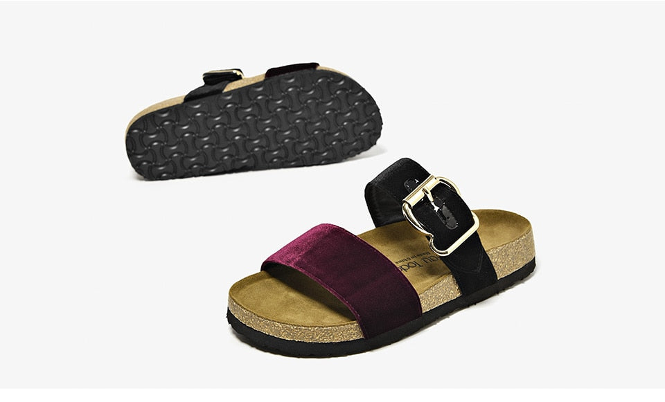 Velvet Buckle Slippers