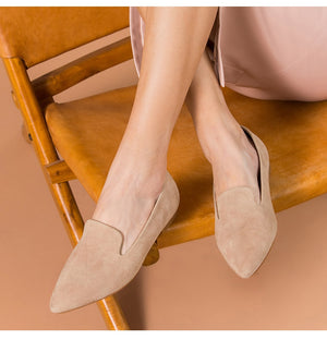 Suede Pointed Toe Loafers