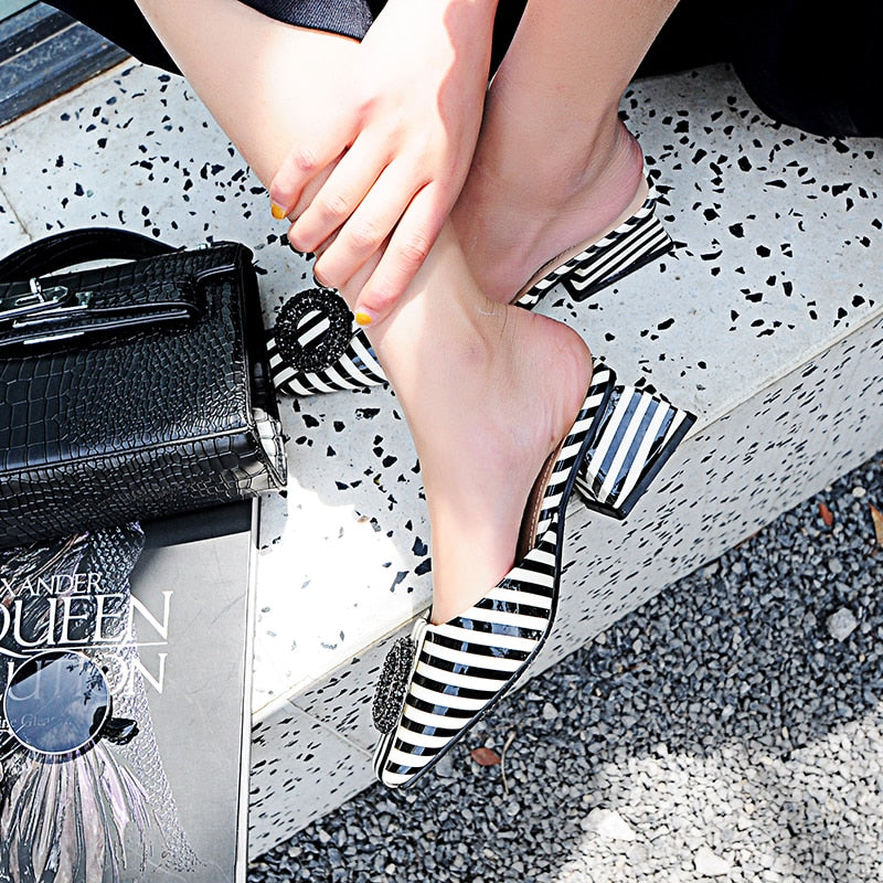 Black & White Striped Leather Slippers