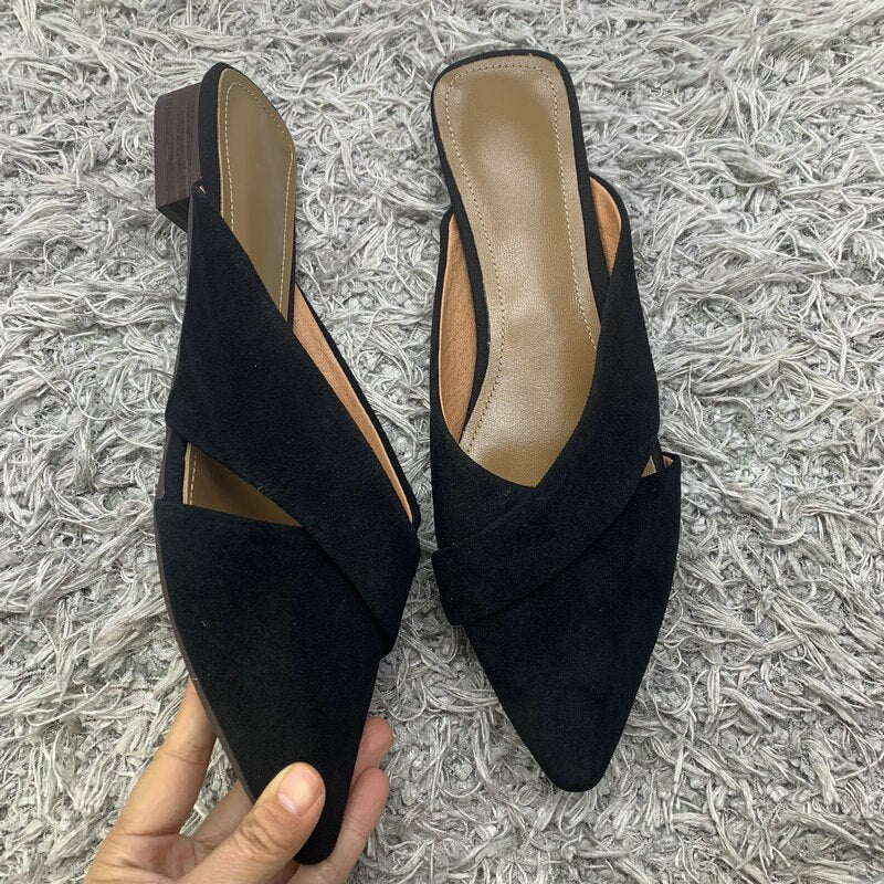 Suede Pointed Toe Low Heeled Mules