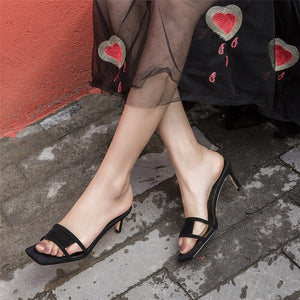 Thin Heel Cutout Leather Slippers