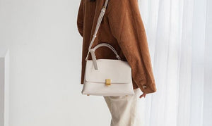 Leather Messenger Bag With Golden Details