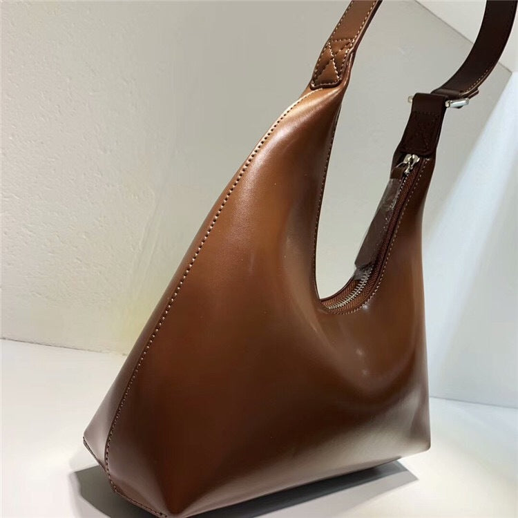 Retro Half Moon Leather Shoulder Bag