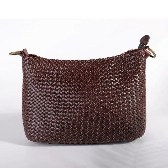 Handmade Knitted Leather Hobo Bag