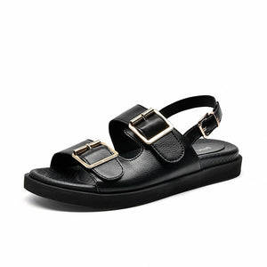 Leather Buckle Strap Slippers