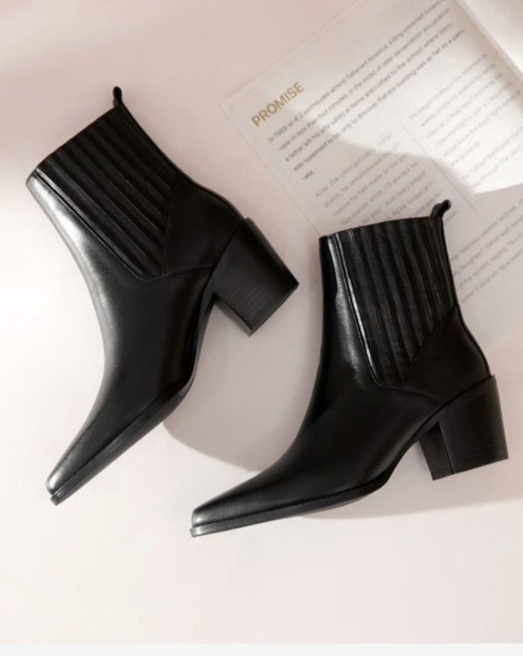 Leather Pointed Toe Slip On Boots