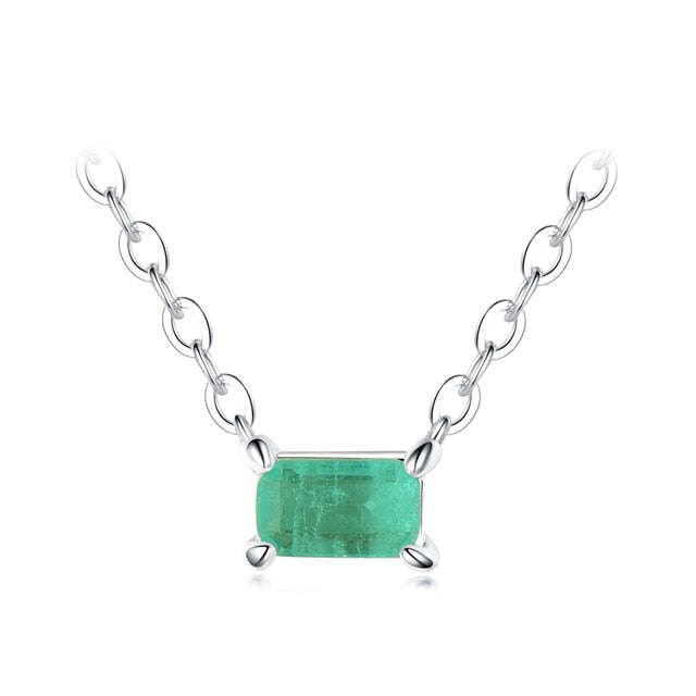 Sterling Silver With Natural Green Stone Necklace