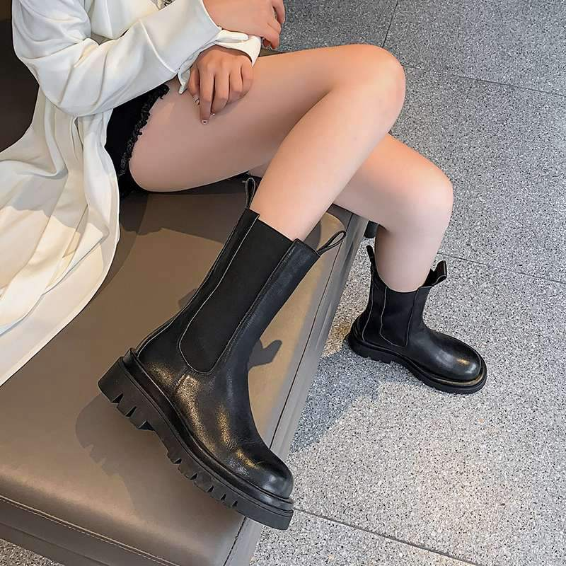 Handmade Leather Slip On Platform Boots