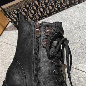 Handmade Leather Cross-Tied Platform Boots
