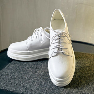 Leather White Platform Sneakers