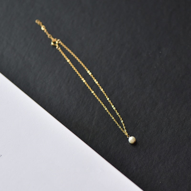 Gold Anklet With Mini Pearl