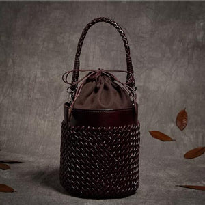 Handmade Leather Knitted Bucket Bag