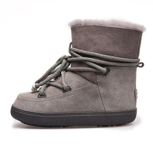 Wool and Leather Snow Boots