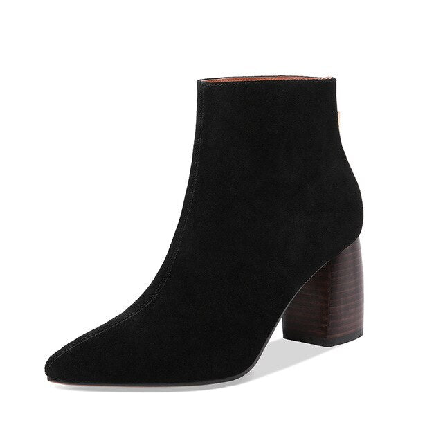 Suede Pointed Toe High Heel Ankle Boots