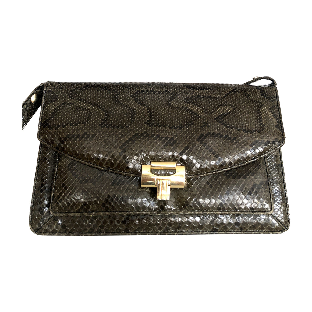 Vintage Snake Leather Messenger Bag