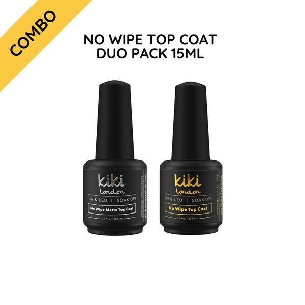 No Wipe Top Coat Duo Pack (High Shine + Matte) 15ml