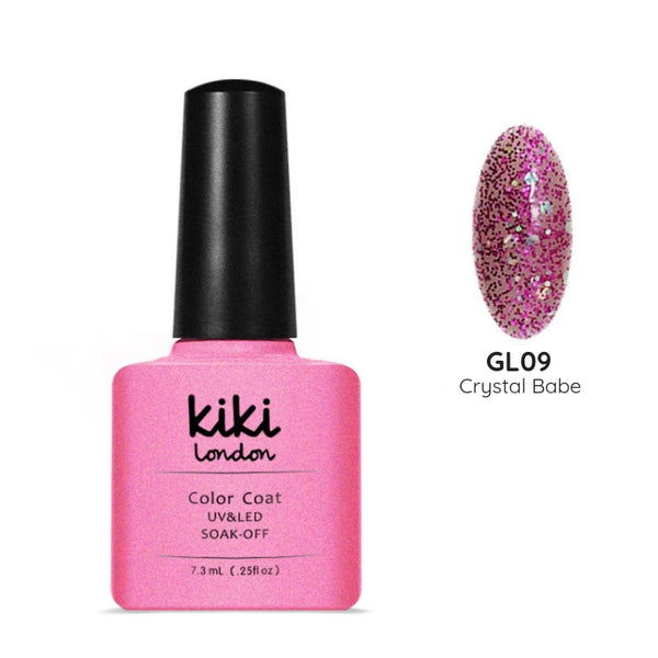 pink gel polish nail nails glitter chunky holographic shiny shimmer topper translucent light base accent art multi multicolour silver