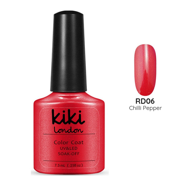 hot red pink summer shimmer gold shiny bright spring holiday gel polish manicure nails orange