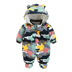 Rompers Winter Thick Warm Baby boy Clothing Long Sleeve Hooded Jumpsuit