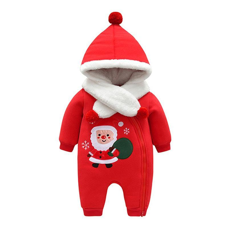 754d65ca0342 Thick Warm Christmas New Year Hooded Jumpsuit With Scarf Kids Outwear ...