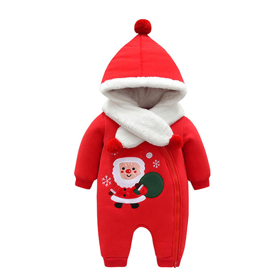 Thick Warm Christmas New Year Hooded Jumpsuit With Scarf Kids Outwear