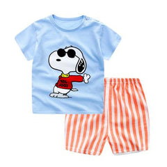 Summer Korean Version Short Sleeve T-shirt Two Sets Striped Wear