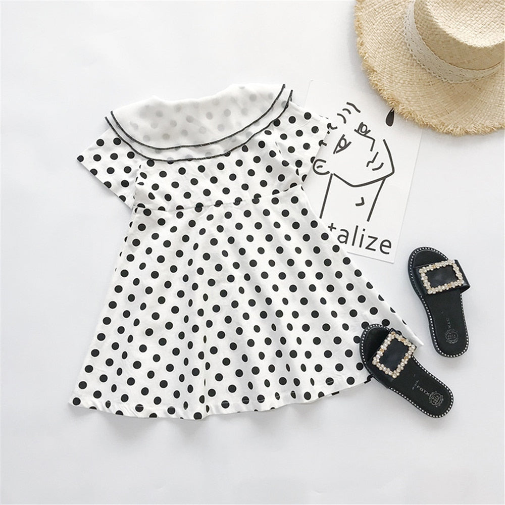Parent-Child Summer Dress Mother Baby Kids Clothes Wave Point Dot White Dresses