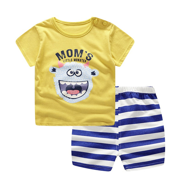 Summer baby costume fashion cartoon print baby clothes sets cotton