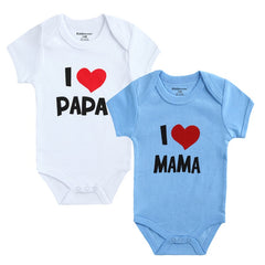 2PCS Baby Clothes Short Sleeve I Love Papa Mama Design 100%Cotton Rompers