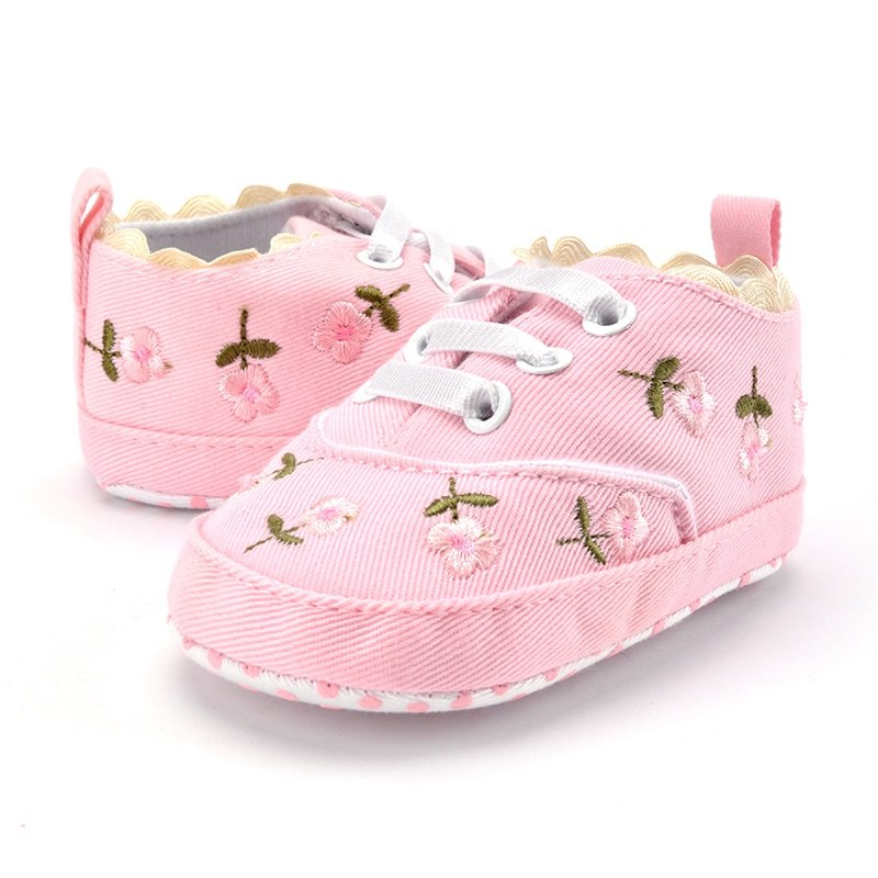 Baby Sneakers Newborn Crib Shoes Hand-made Flower Printed Kids