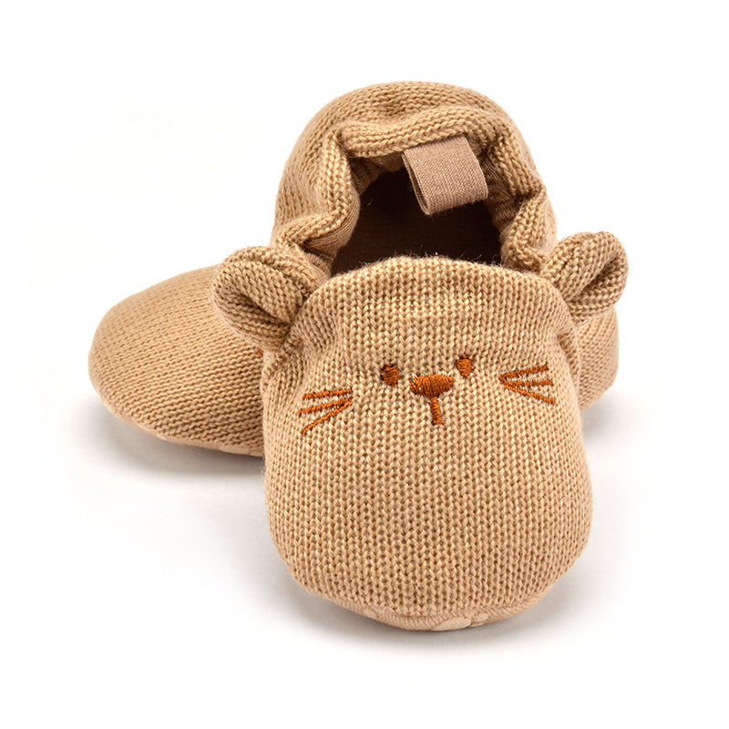 Toddler Baby Boy Girl Knit Crib Shoes Cute Cartoon Anti-slip Prewalker Baby Slippers