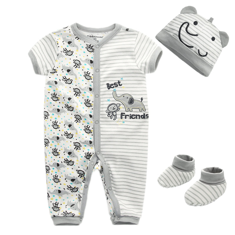 3Pcs/Set Baby Boys Clothing Infant short romper+socks+Hat Kids Toddler
