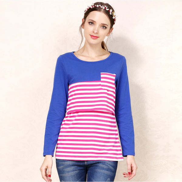 90646f69b438d Stripe Maternity Clothes Breastfeeding shirts Nursing Tops pregnant