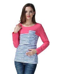 Stripe Maternity Clothes Breastfeeding shirts Nursing Tops for pregnant