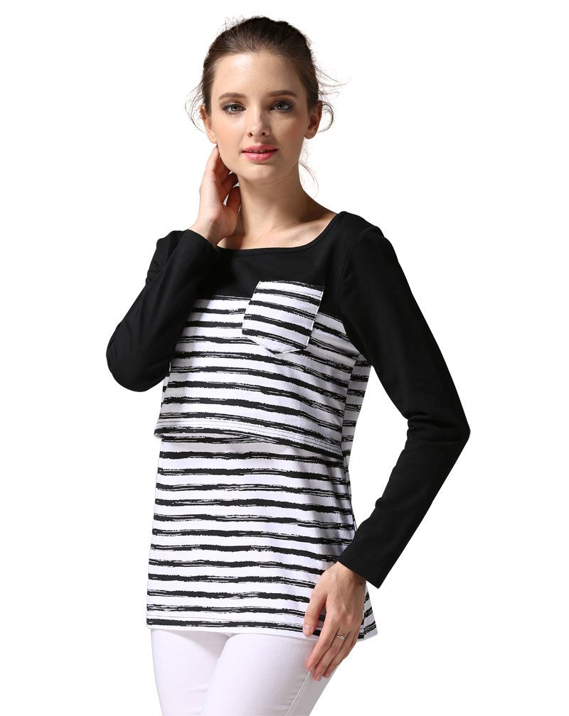 c77126e581 Stripe Maternity Clothes Breastfeeding shirts Nursing Tops pregnant