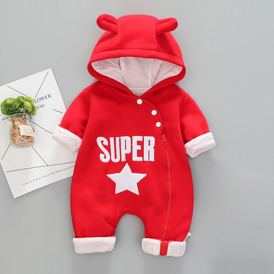 d355f38d25b8 Autumn Winter Baby Boy Clothes Baby Rompers Fleece Newborn Clothing