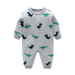 Toddler Newborn Clothes Baby Romper Dinosaur Printed  Warm Jumpsuit With Hat